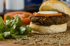 vegetarian mushroom and pecan burger